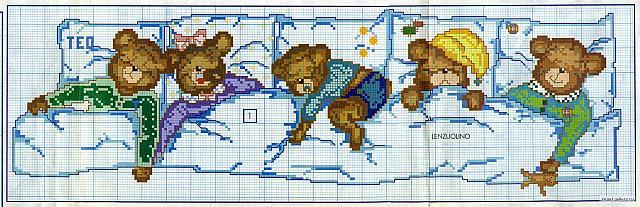 Lenzuolino orsetti che dormoni punto croce 2 for Lenzuolini punto croce per bambini