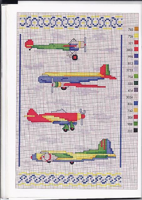 Aerei ed aeroplani per bambini schemi punto croce for Iniziali punto croce bambini
