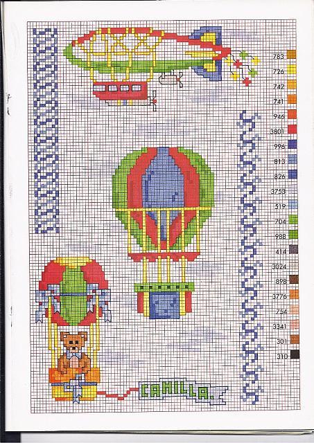Mongolfiere con orsetti schemi punto croce per bambini for Iniziali punto croce bambini