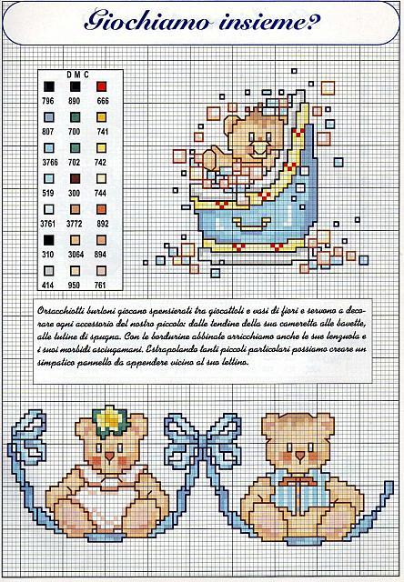 Teneri bordi punto croce nascita bimbo con orsacchiotti for Orsetti a punto croce schemi