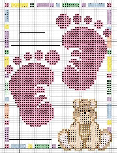 Impronte piedini con orsetto schema punto croce for Schema punto croce orsetto