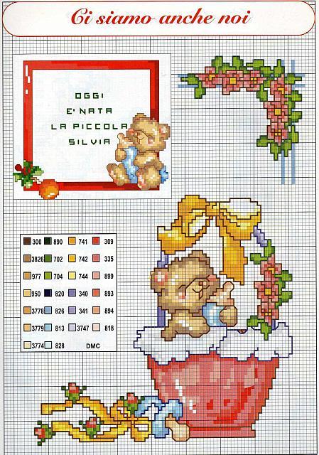 Quadretto nascita bimbo punto croce con orsacchiotti 2 for Quadretto nascita punto croce
