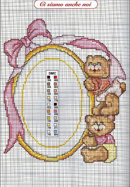 Bambini nascita gemelle cornice punto for Schemi punto croce bambini gratis