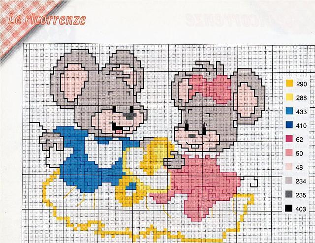 Topini gemelli punto croce uncinetto for Punto a croce bambini