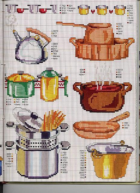 Cucina pentole bollitore punto croce for Registro casa schemi