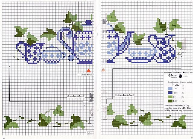 Teiere semplici con edera punto croce for Registro casa schemi