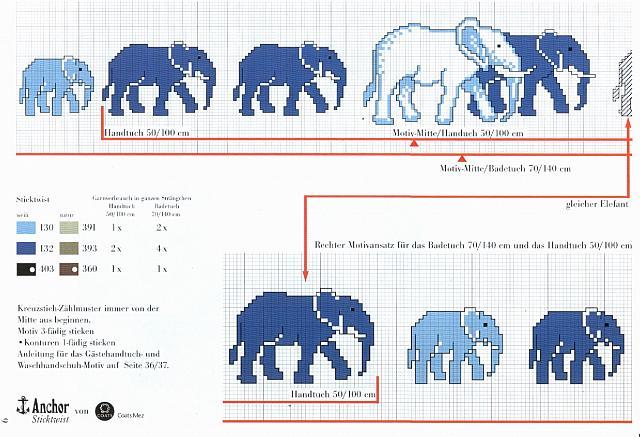 Asciugamano bagno punto croce con elefanti 2 - Schemi punto croce bagno ...