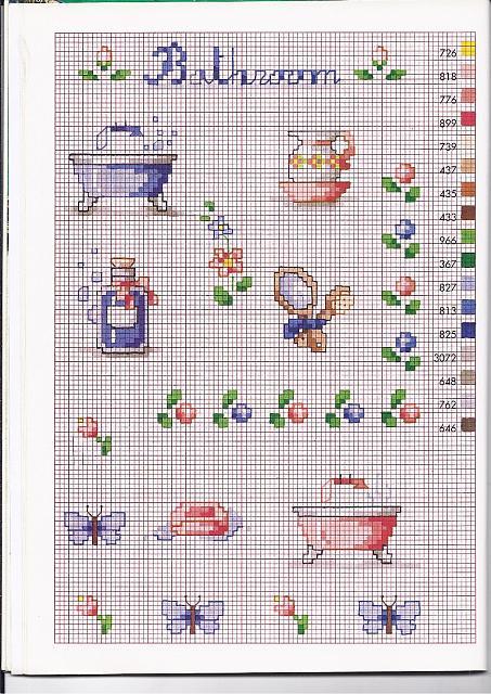 Piccoli schemi punto croce per il bagno for Registro casa schemi
