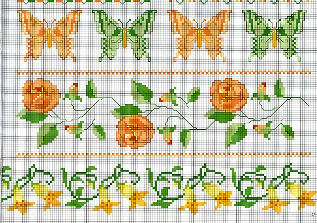 Bordi punto croce con farfalle e fiori for Farfalle punto a croce