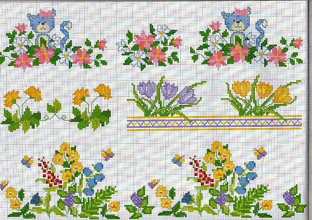 Bordure fiori campo farfalle punto croce for Punto croce farfalle