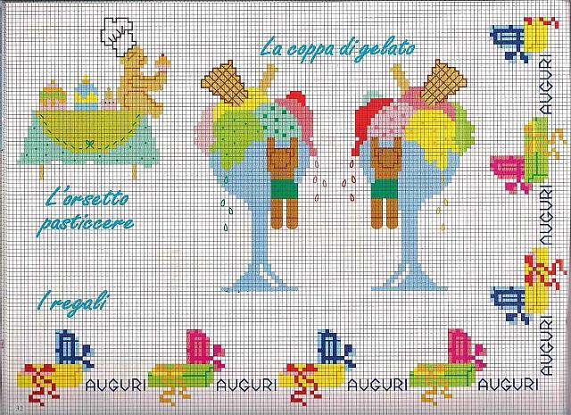Coppa di gelato a punto croce per bambini - Pagine da punto a punto per bambini ...