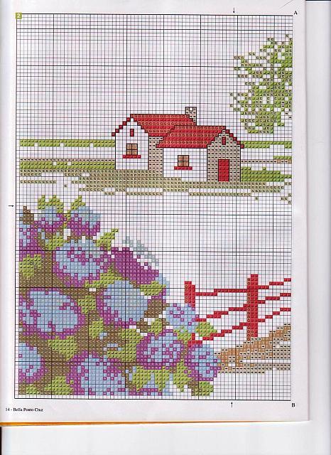 Schema ortensie punto croce idee per interni e mobili for Registro casa schemi