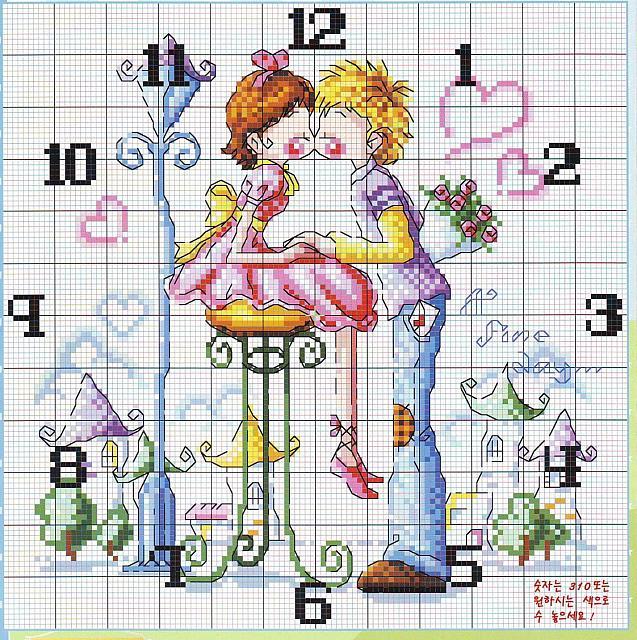 Orologio punto croce con due innamorati for Orologio punto croce schemi gratis