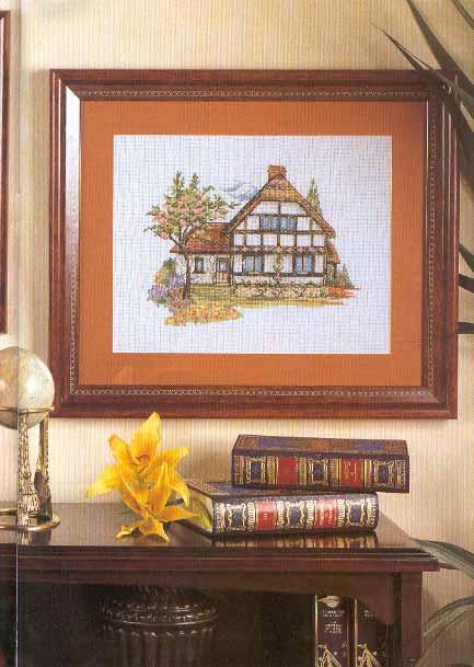 Quadro punto croce con cottage inglese 1 magiedifilo for Piani casa inglese cottage
