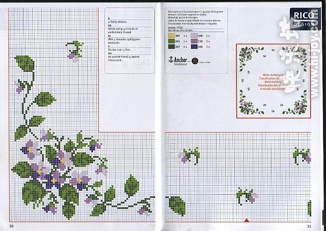 Tovaglietta da ricamare con fiori violette 2 magiedifilo - Disegni punto croce per tovaglie da tavola ...