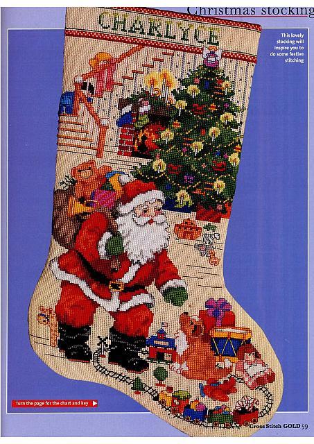 ... Home Schemi Punto Croce Festività Natale calze natalizie con babbo