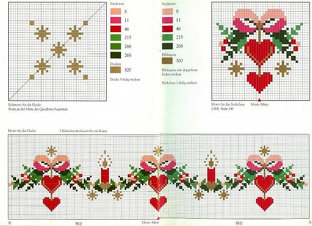 Natale fiocchi cuori candele punto croce uncinetto schemi gratis hobby creativi - Disegni punto croce per tovaglie da tavola ...