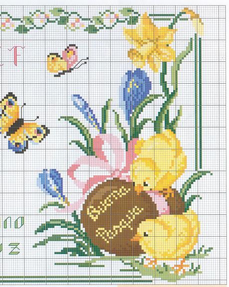 Pasqua pulcini farfalle 1 punto croce for Farfalle punto croce