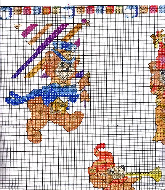 Sampler da ricamare con orsetti del circo 3 for Orsetti a punto croce schemi