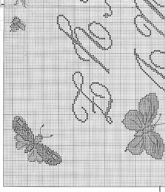 Sampler punto croce con lettere corsive e farfalle 5 for Schemi punto croce farfalle