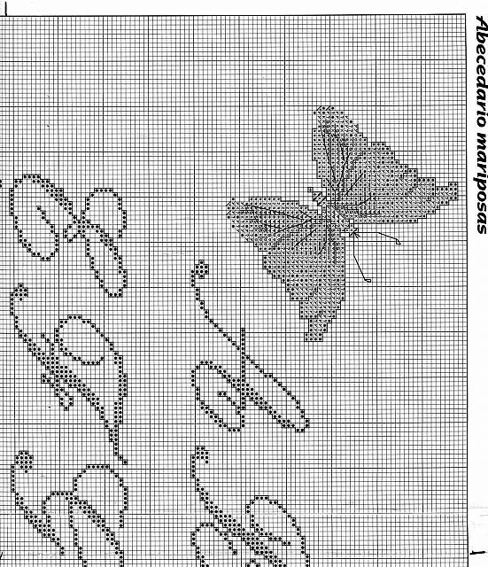 Sampler punto croce con lettere corsive e farfalle 4 for Farfalle a punto croce gratis