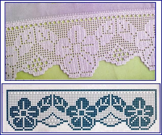 Bordo fiori e foglie semplice schema filet uncinetto for Schemi bordure uncinetto filet