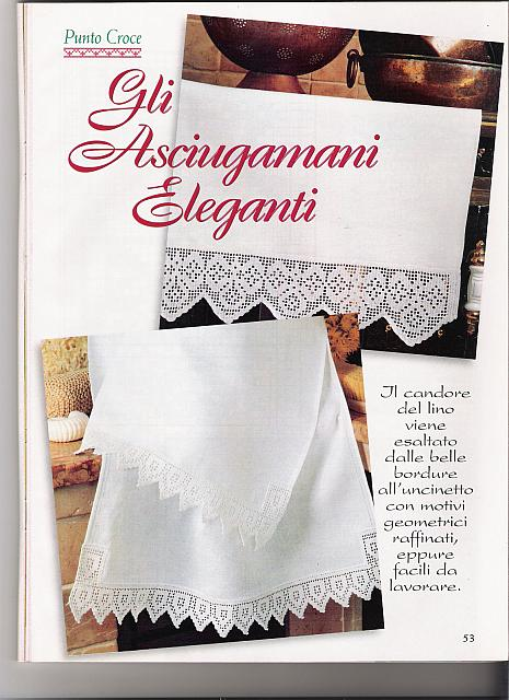 Bordi filet asciugamani 1 punto croce for Schemi bordure uncinetto per mensole