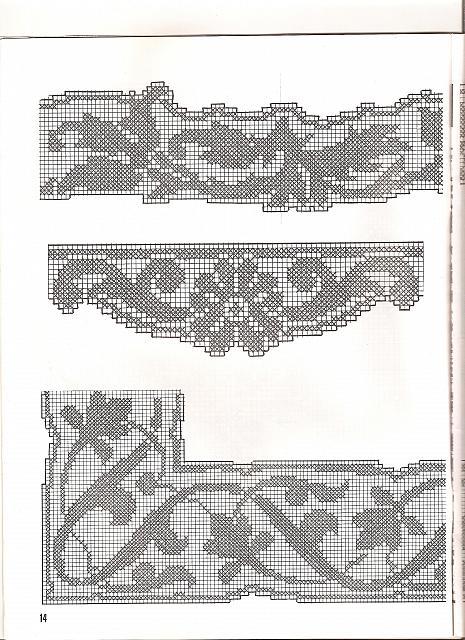 Bordi filet con angoli 1 punto croce for Bordi uncinetto schemi