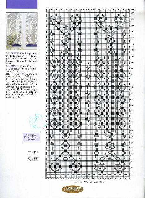 Disegni A Filet Per Tende.Tende Con Disegni Geometrici Schema Filet Uncinetto