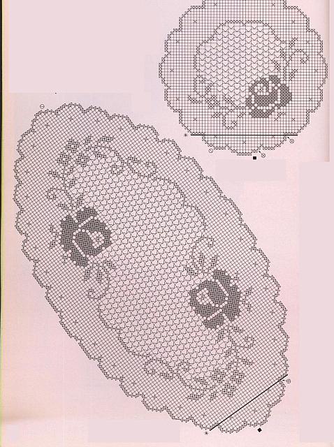 Trittico ovale rotondo filet 2 punto for Centrini a filet per camera da letto