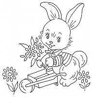 disegno da ricamare coniglio con cariola
