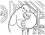 Baymax abbraccia Hiro disegni da colorare gratis
