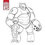 Hiro e Baymax versione guerriero da colorare
