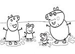 famiglia peppa pig al mare da colorare