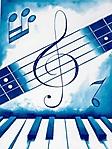 Nota musicale con tastiera sfondo wallpaper 240x320
