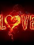 Scritta Love di fuoco sfondo wallpaper 240x320