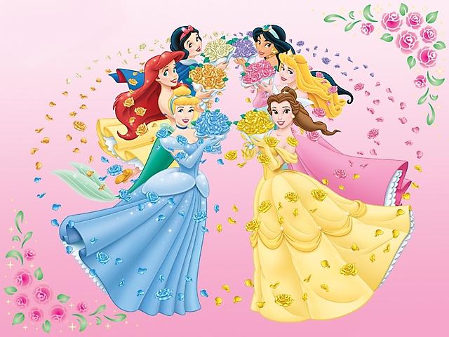 Principesse disney rose e petali sfondo wallpaper