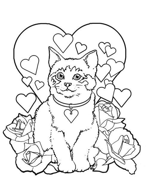 Gatto tra cuoricini e rose rosse da colorare gif animate for Colorare le rose