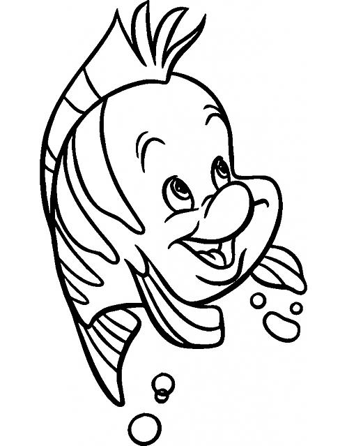 Flounder il pesce de la sirenetta da colorare gif animate for Pesce nemo da colorare