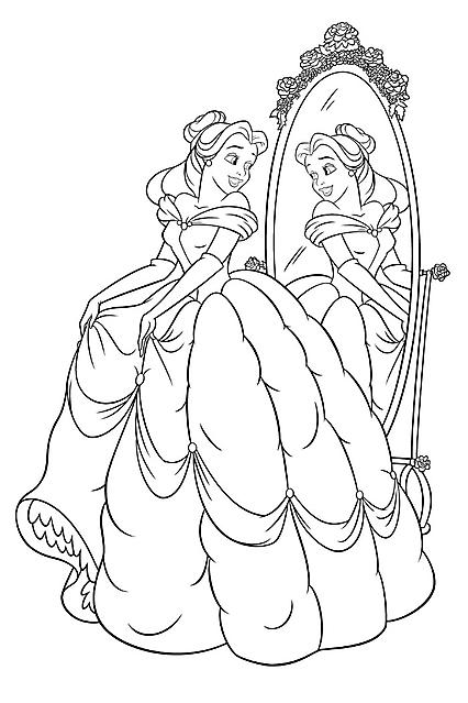 Disegni Da Colorare Belle La Principessa Disney Allo Specchio Gif