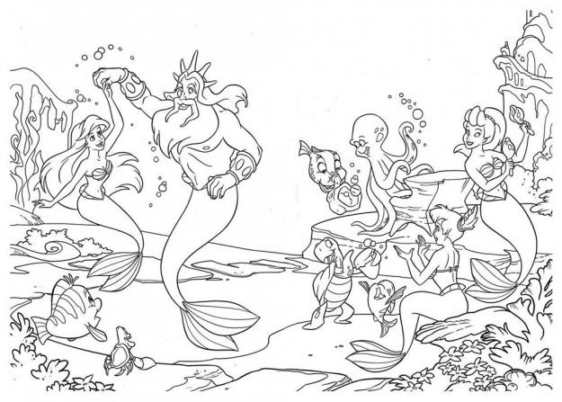 Disegni da colorare la principessa disney ariel gif for Immagini di mare da colorare