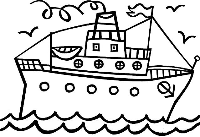 Disegni Da Colorare Per Bambini Nave Con Scialuppe Gif Animate