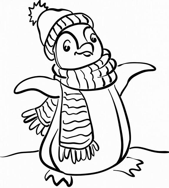 Grande Pinguino Con Vestiti Invernali Da Colorare Gif Animate