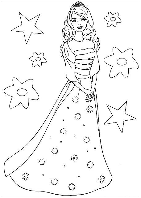 Disegni da colorare barbie principessa bella risorse for Disegni barbie da colorare gratis