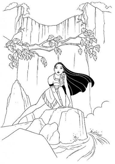 disegni da colorare principesse disney pocahontas cascata