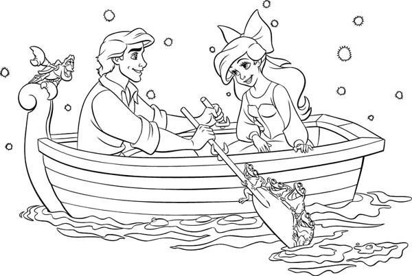 Disegni Da Colorare La Principessa Disney Ariel In Barca Wallpapers