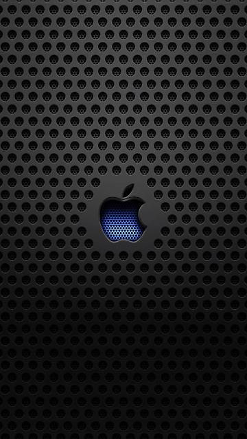 Sfondo Per Iphone 5 640x1136 Mela Blu Su Texture Nera Wallpapers