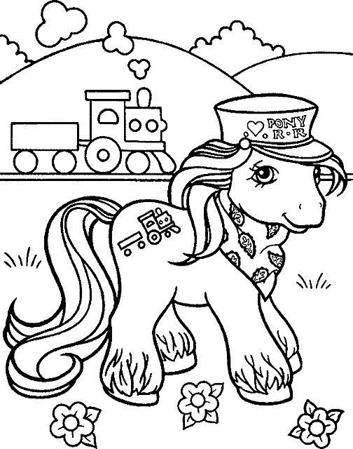 disegni da colorare my little pony capotreno