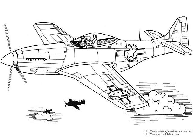 Un Aereo Mustang P 51 Da Colorare Per Bambini Disegni Da Colorare