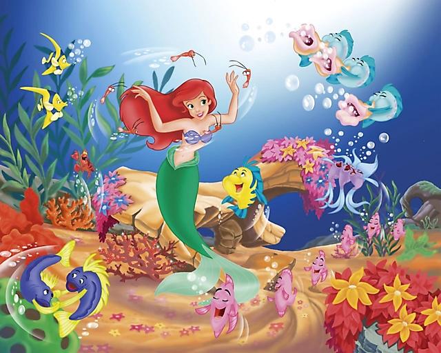 Ariel in fondo al mare sfondo wallpaper 1280x1024 disegni - Cartoni animati mare immagini ...